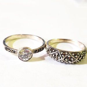 Two Silver Marcasite Cubic Zirconia Rings